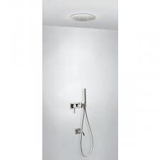 Tres 3V kompletny zestaw wannowo-prysznicowy podtynkowy 3-drożny deszczownica średnica380mm z wylewką do wanny stalowy - 755611_O1