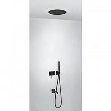 Tres 3V kompletny zestaw wannowo-prysznicowy podtynkowy 3-drożny deszczownica średnica380mm z wylewką do wanny czarny matowy - 756995_O1
