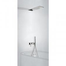 Tres 3V kompletny zestaw wannowo-prysznicowy podtynkowy 3-drożny deszczownica 160x550mm z wylewką do wanny kaskada chrom - 720783_O1