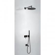 Tres 3V kompletny zestaw wannowo-prysznicowy podtynkowy 3-drożny deszczownica średnica300mm z wylewką do wanny czarny matowy - 745747_O1