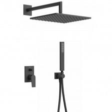 Tres Project kompletny zestaw prysznicowy podtynkowy deszczownica 300x300mm czarny matowy - 746261_O1