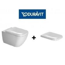 Duravit Happy D.2 Zestaw Miska WC wisząca 54x36,5 cm bezrantowa Rimless z deską wolnoopadającą biała (2222090000+0064590000)O1