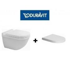 Duravit Starck 3 zestaw miska WC wisząca 54cm biała (ukryte mocowania) z deską wolnoopadającą (2225090000+0063890000)O1