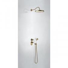 Tres Mono-Clasic kompletny zestaw prysznicowy podtynkowy termostatyczny 2-drożny deszczownica średnica310mm stary mosiądz - 740724_O1