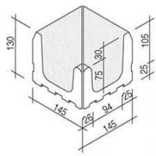 Villeroy & Boch Pro Architectura Pool System narożnik wewnętrzny 15x15 cm gres matowy biały - 519508_O1