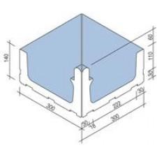 Villeroy & Boch Pro Architectura Pool System narożnik wewnętrzny 30x30 cm gres matowy jasny aquamarine - 519736_T1