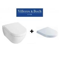 Villeroy & Boch Subway 2.0, zestaw miska WC wisząca 56 cm Weiss Alpin z deską wolnoopadającą (56001001+9M68S101)O1