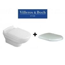 Villeroy & Boch Hommage zestaw miska WC wisząca z powłoką 60 cm Weiss Alpin Ceramicplus (ukryte mocowania) z deską wolnoopadającą (6661B0R1 +8809S1R1)O1
