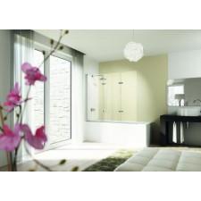 Huppe DESIGN elegance Parawan nawannowy 3-częściowy mocowanie lewe 120x150 Srebrny matowy\ AntiPlaque - 737152_O1