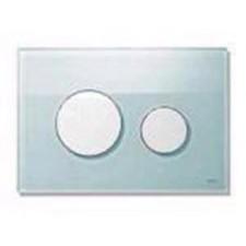 Tece Loop przycisk spłukujący do WC ze szkła, szkło zielone, przyciski białe - 164230_O1