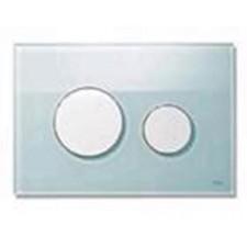 Tece Loop przycisk spłukujący do WC ze szkła, szkło zielone, przyciski chrom matowy - 164231_O1