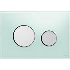 Tece Loop przycisk spłukujący do WC ze szkła, szkło zielone, przyciski chrom połysk - 164232_O1