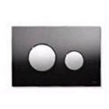 Tece Loop przycisk spłukujący do WC ze szkła, szkło czarne, przyciski białe - 164233_O1