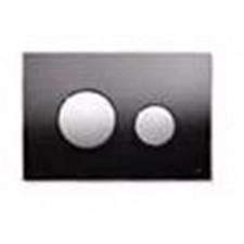 Tece Loop przycisk spłukujący do WC ze szkła, szkło czarne, przyciski chrom matowy - 164234_O1
