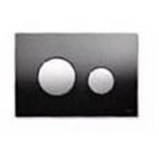 Tece Loop przycisk spłukujący do WC ze szkła, szkło czarne, przyciski chrom połysk - 164235_O1