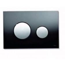 Tece Loop przycisk spłukujący do WC ze szkła, szkło czarne, przyciski złote - 164237_O1