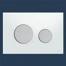 Tece Loop przycisk spłukujący do WC ze szkła, szkło białe, przyciski chrom matowy - 416594_O1