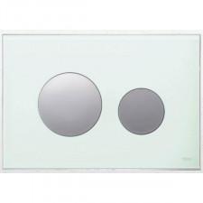 Tece Loop przycisk spłukujący do WC ze szkła, szkło białe, przyciski chrom połysk - 416581_O1