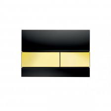 Tece Square przycisk spłukujący ze szkła do WC; szkło czarne, przyciski złote - 416607_O1