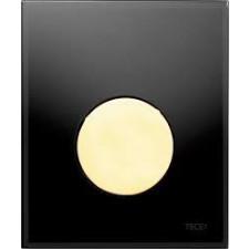 Tece Loop przycisk spłukujący ze szkła do pisuaru, szkło czarne, przycisk złoty - 164275_O1