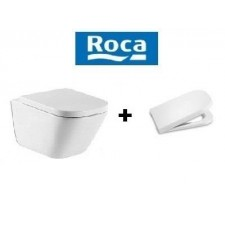 Roca Gap Miska WC wisząca 54 cm bezrantowa Clean Rim biała z deską wolnoopadającą (A34647L000+A80148200U)O1