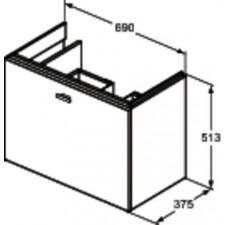 Ideal Standard Connect Space szafka pod umywalkę 70cm lewa szary połysk - 553156_O1