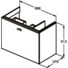 Ideal Standard Connect Space szafka pod umywalkę 70cm prawa szary połysk - 553092_O1