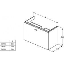 Ideal Standard Connect Space szafka pod umywalkę 80cm szary połysk - 553136_O1