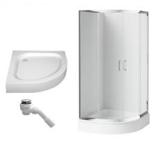 Deante Funkia kabina prysznicowa półokrągła 90x90 + brodzik półokrągły Standard New + syfon samoczyszczący (KYP051K+KTA053B+2105205-00) - 686955_O1