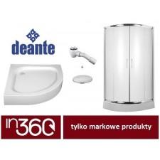 Deante Vanilla kabina prysznicowa półokrągła 80x80 + brodzik półokrągły Standard New + syfon samoczyszczący (KTO052P+KTA054B+2105205-00) - 686956_O1