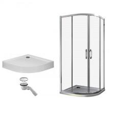 Huppe Ena 2.0 kabina prysznicowa 90x90 + brodzik Xerano 1/4 koła + syfon (140602069322+840201055) - 468359_O1