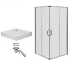Huppe Ena 2.0 Kabina prysznicowa 90x90 + brodzik Xerano kwadrat + syfon (140103069322+840102055) - 469394_O1