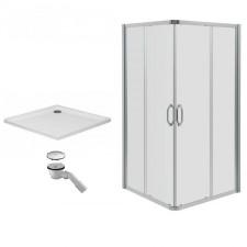 Huppe Ena 2.0 Kabina prysznicowa 90x90 + brodzik Xerano kwadrat płytki + syfon (140103069322+840302055) - 469323_O1