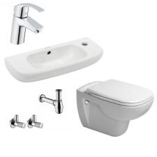 Komletna łazienka Duravit D-Code Miska WC wisząca z deską wolnoopadającą umywalką wiszącą 50 cm i baterią umywalkową Grohe Eurosmart - 459973_O1