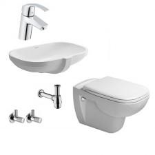 Komletna łazienka Zestaw Duravit D-Code Miska WC wisząca z deską wolnoopadającą, umywalką podblatową i baterią umywalkową Grohe Eurosmart - 459993_O1