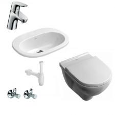 Komletna łazienka Zestaw O.Novo Miska WC wisząca z deską wolnoopadającą, umywalką nablatową 56 cm i baterią umywalkową Hansgrohe Focus - 459995_O1