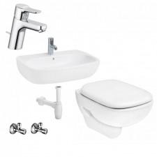 Kompletna łazienka Zestaw Koło Style Miska WC wisząca z deską wolnoopadającą, umywalką wiszącą 60 cm - 459996_O1