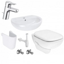 Kompletna łazienka Zestaw Koło Style Miska WC wisząca z deską wolnoopadającą, umywalką wiszącą 50 cm - 459997_O1
