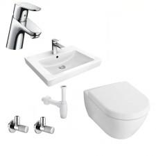 Kompletna łazienka Zestaw Villeroy & Boch Subway 2.0 Miska WC wisząca z deską w/o, umywalką wiszącą 65 cm i baterią umywalkową Hansgrohe Focus - 459998_O1