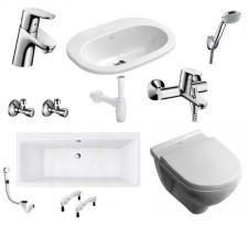 Kompletna łazienka Zestaw Villeroy & Boch O.Novo Miska WC wisząca z deską w/o, umywalką wpuszczaną w blat, wanną oraz armaturą Hansgrohe Focus - 460044_O1