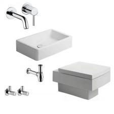 Komletne łazienki Duravit Vero Zestaw Miska Wc wisząca z deską wolnoopadającą, umywalką 60 cm i armaturą Kludi Bozz - 460111_O1