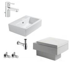 Komletne łazienki Duravit Vero Zestaw Miska Wc wisząca z deską wolnoopadającą, umywalką 45 cm i armaturą Kludi Zenta XL - 460112_O1