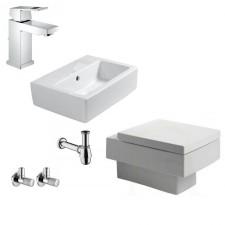 Komletne łazienki Duravit Vero Zestaw Miska Wc wisząca z deską wolnoopadającą, umywalką 45 cm i armaturą Grohe Eurocube - 460113_O1