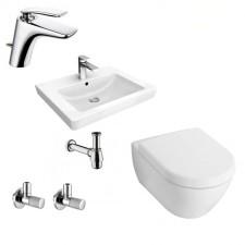 Kompletna łazienka Villeroy & Boch Subway 2.0 Miska WC z deską wolnoopadającą, umywalką 65 cm i armaturą Kludi Balance - 460114_O1