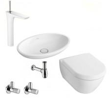Kompletna łazienka Villeroy & Boch Subway 2.0 Miska WC z deską wolnoopadającą, umywalką nablatową i armaturą Hansgrohe PuraVida - 460115_O1