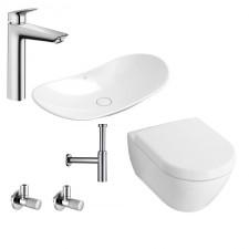Kompletna łazienka Villeroy & Boch Subway 2.0 Miska WC z deską wolnoopadającą, umywalką nablatową MyNature i armaturą Hansgrohe Logis - 460177_O1