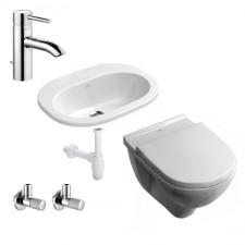 Kompletna Łazienka Zestaw Villeroy & Boch O.Novo Miska WC wisząca z deską wolnoopadającą, umywalką 56 cm i armaturą Kludi Bozz - 460179_O1