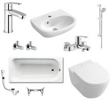Kompletna łazienka Villeroy & Boch Subway 2.0 Miska WC z deską w/o, umywalką 45 cm, armaturą Grohe Eurostyle i wanna Kaldewei Saniform Plus - 460185_O1