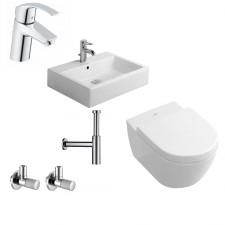 Kompletna łazienka Villeroy & Boch Subway 2.0 Miska WC z deską wolnoopadającą, umywalką stojącą Duravit Vero 60 cm i armaturą Hansgrohe Talis - 460186_O1