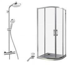 Huppe Ena kompletna kabina prysznicowa 90 brodzik, bateria termostatyczna Hansgrohe z deszczownicą (140602069322+840401055+27264400) - 686904_O1